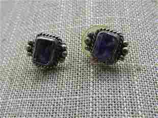 Sterling Southwestern Boho Amethyst Earrings, Stud
