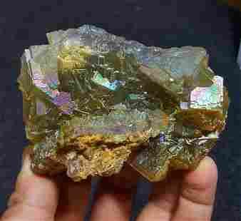 Rare Rainbow Fluorite Mineral - 274 Grams - 88X67X38 mm