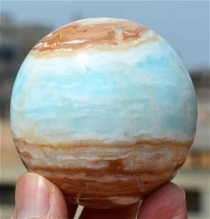 360 Grams Beautiful Blue Caribbean Calcite Sphere
