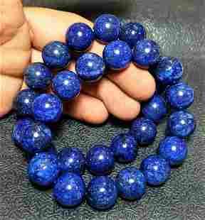 Paired Lapis Lazuli Bracelets - 14 mm Beads Size