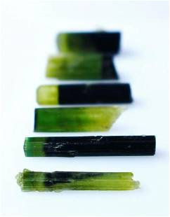 Natural Green Cap Tourmaline Crystal Lot