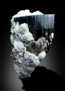 Blue Cap Tourmaline with Smoky Quartz and Albite