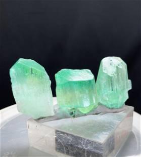 Green Kunzite Hiddenite Crystals, Terminated, Good