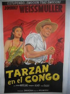 Original Vintage 1951 Tarzan Spanish Dubbed Poster