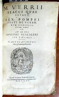 1575 MARCUS FLACCUS by JOSEPH SCALIGER VELLUM BOUND