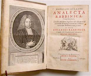 1723 Analecta Rabbinica by ADRIAAN RELAND VELLUM BOUND