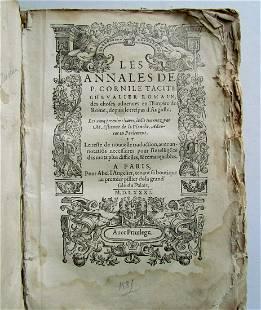 1581 TACITUS THE ANNALS VELLUM BOUND antique TACITE