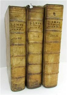 1724 3 VOL. GOSPEL COMMENTARY VELLUM antique