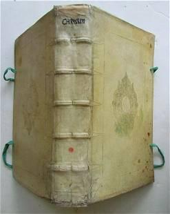 1642 LAW BOOK VELLUM BOUND BLINDSTAMPED FOLIO antique