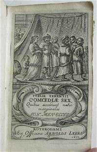 1670 PUBLII TERENTII COMOEDIAE SEX VELLUM BOUND antique