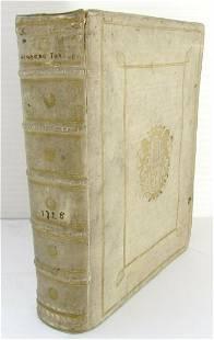 1728 SENECA TRAGEDIES PRIZED VELLUM BINDING antique