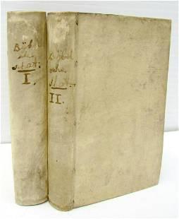 1758 2 volumes BIBLE HISTORY VELLUM BINDING antique