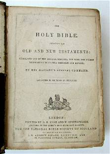19th century HOLY BIBLE in English antique OLD & NEW