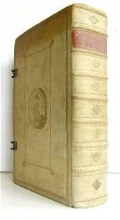 1743 LAW BOOK VELLUM BOUND FOLIO antique in LATIN by