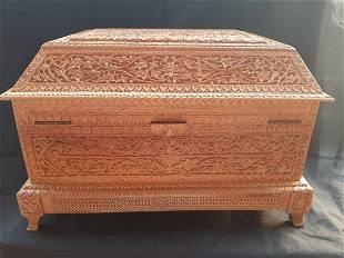 Antique handmade wooden Mughal jewellery box UK