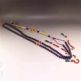 Chinese Qing Dy Amethyst Beads Court Officials Necklace