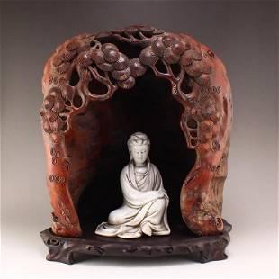 Zitan Wood Shrine White Glaze Porcelain Kwan-yin Statue