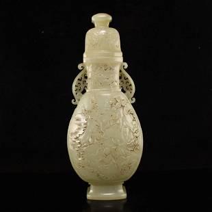 Superb Qing Hetian Jade Urchin Design Double Ears Vase