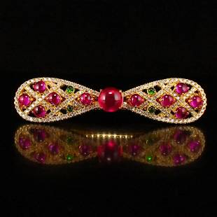 Exquisite Gilt Gold Inlay Ruby Hair Pin