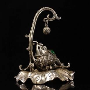 White Copper Inlay Gems Toad Shape Incense Burner