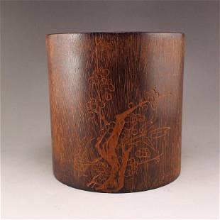Vintage Chenxiang Wood Plum Flower Design Brush Pot