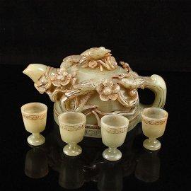 Set Qing Hetian Jade Magpie & Plum Flower Teapot & Cups