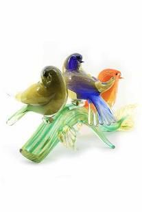"Giuliano Tosi - Murano glass sculpture "" birds on"