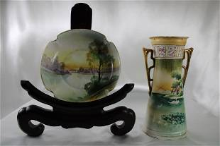 Nippon Vase & Plate with Nature & Swan Scene