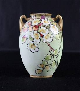 Nippon Vase with Beautiful Apple Blossoms
