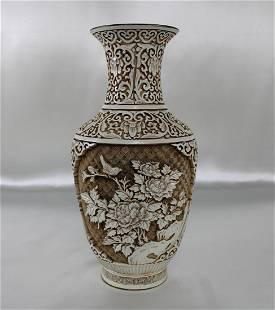 Asian Ivory Alabaster Carved Vase