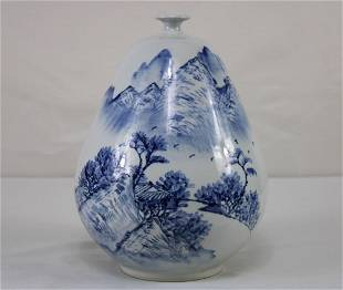Asian Blue and White pear Shaped Vase