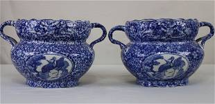A Pair Chinese Ceramic Garden Pots with 2 handles