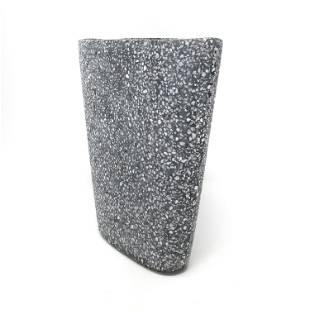 Black and White Speckled Ceramic Vase by Christian