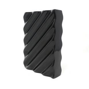 Postmodern Wavy Black Ceramic Vase