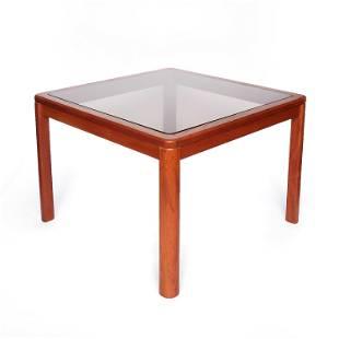 Danish Modern Teak and Smoked Glass Side Table by Uldum