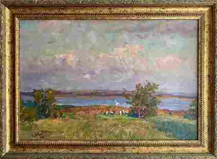Oil painting Quiet evening Fomin Anatoly Nikiforovich