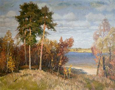 Oil painting By the river Mynka Alexander Fedorovich