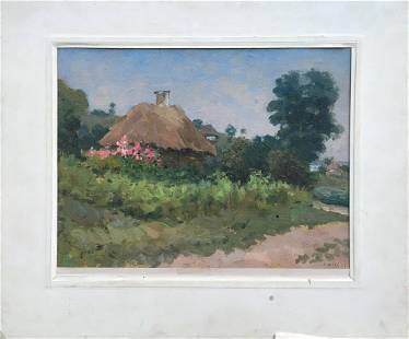 Oil painting Lonely woman's hut Tsyupka Ivan