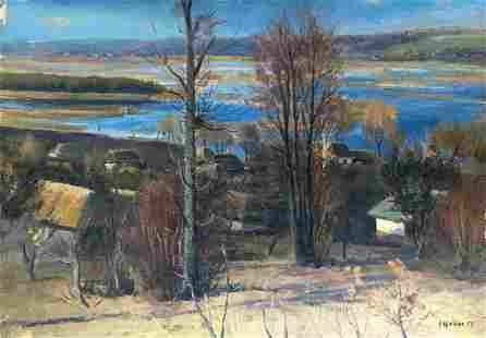 Oil painting Overlooking the village Tsyupka Ivan