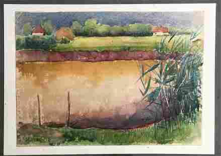 Watercolor painting Evening after rain Tsyupka Ivan