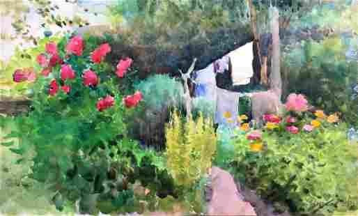 Watercolor painting In the garden Tsyupka Ivan