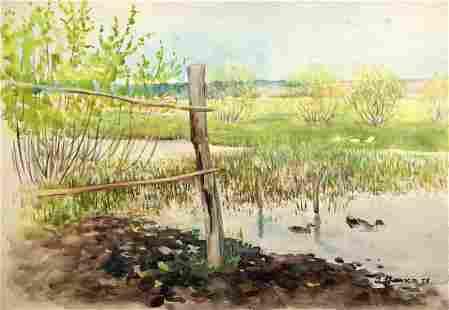 Watercolor painting River landscape Tsyupka Ivan