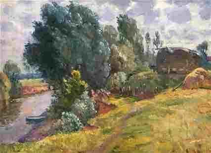 Oil painting Near the river Mynka Alexander Fedorovich