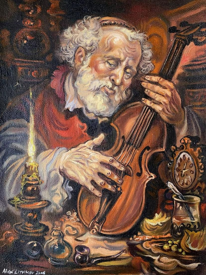 Oil painting Violinist Alexander Arkadievich Litvinov