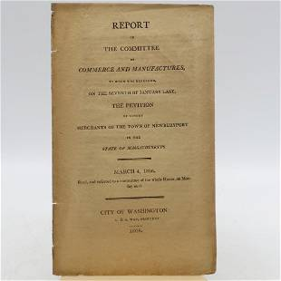 Report Of the Committee of Commerce & Manufactures,...