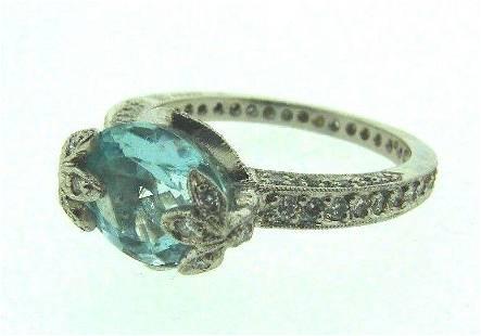 TRENDY Cathy Waterman Platinum, Diamond & Aquamarine