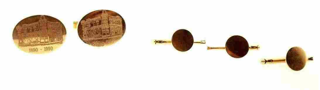 GORGEOUS Tiffany & Co. 14k Yellow Gold Cufflinks & Stud