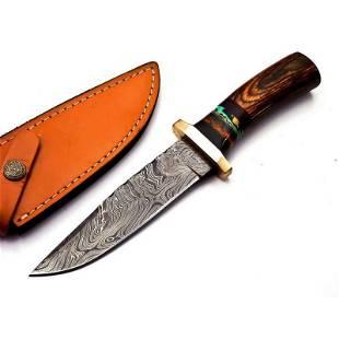 Handmade work damascus steel knife hunting camping wood