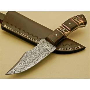 Knife damascus steel walnut wood stag horn butcher