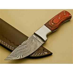 Knife damascus steel wood handle full tang hunting